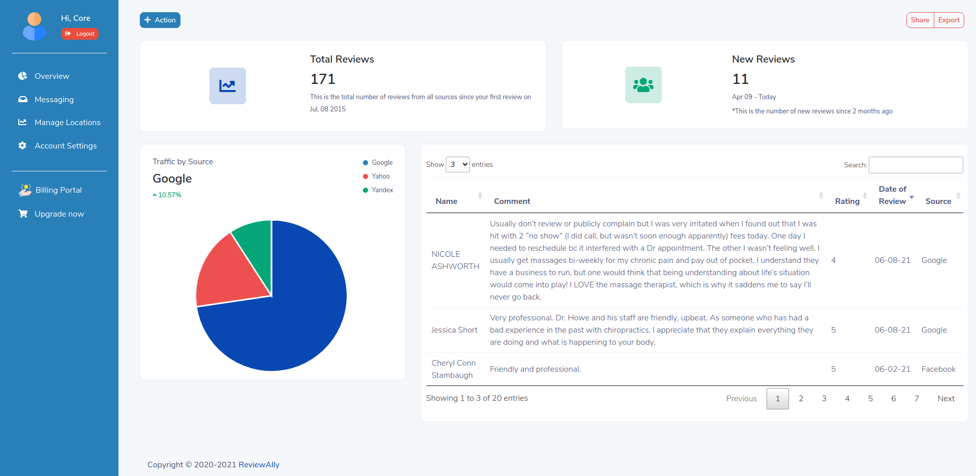 Preview of the ReviewAlly Dashboard